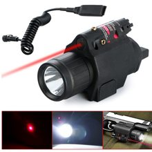 LED Tactical Insight 300 Lumen 2 in 1 CREE Q5 Red Laser Flashlight Sight Combo For Pistol Gun 3 Modes For 2X3V CR123A(China)