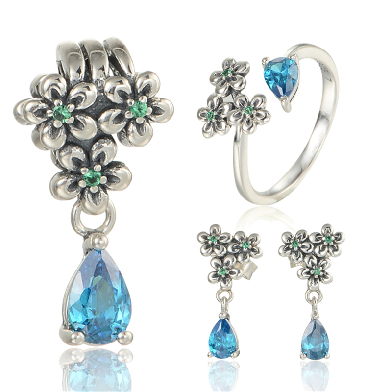 цены jewelry sets 925 Sterling Silver GW brand earrings and pendant and ring SET-012
