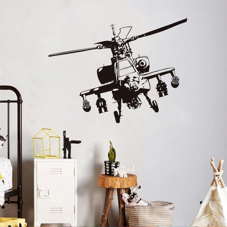 Us 1199 23 Offarmy Military Helicopter Wall Sticker Vinyl Self Adhesive Wallpaper For Kids Living Room Hollow Out Mural In Wall Stickers From Home