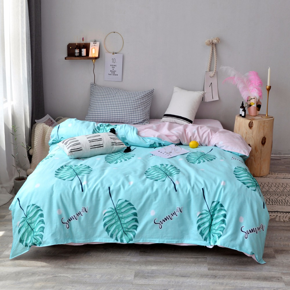 Modern Style Green Leaf Pattern 100% Cotton 1 PC Environmental Printing And Dyeing Super Soft Duvet Cover Home-Textile 4 Size