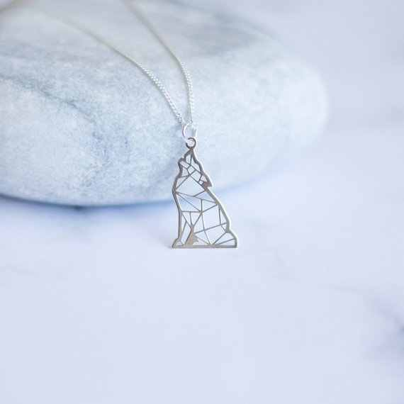 stainless steel howing Wolf Necklace  Origami Wolf   Origami Pendant Howl at the Moon geometric Wolf  Animal Lover