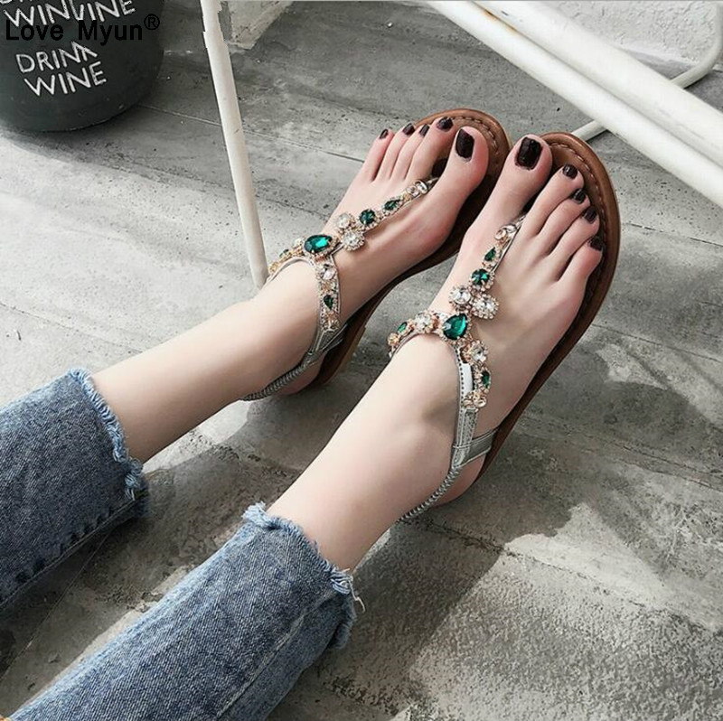 Women Shoes Hot Fashion Women Sandals Elastic T-strap Bohemia Beaded Slipper Flat Crystal Sandals Women Summer Flip Flop 856 цена 2017