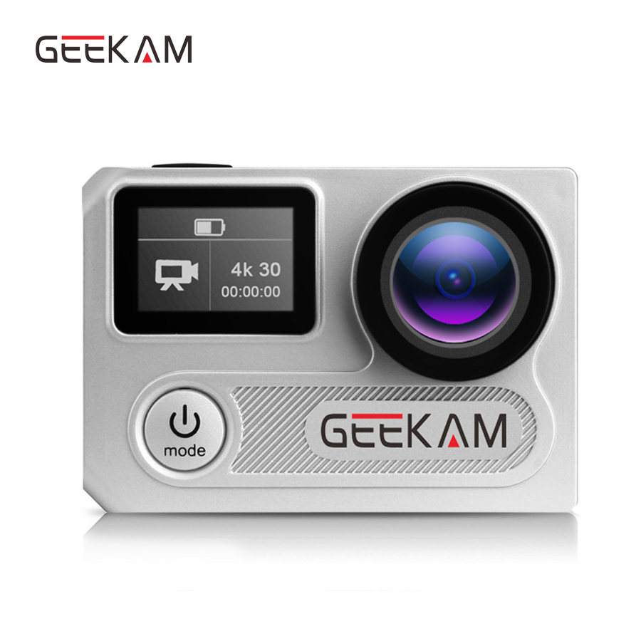 GEEKAM H8RS action camera Ultra HD Waterproof 4K Video 170 degrees 2.0 dual screen 1080p 60fps WiFi Action Sport camera f88 action camera black