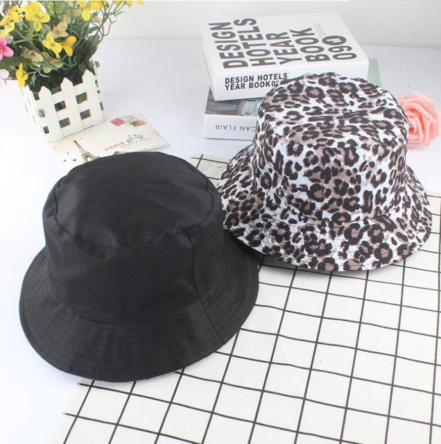 2eaa61e08e5 2018 Two Side Reversible Leopard Bucket Hat Unisex Fashion Bob Caps Hip Hop  Gorros Men Summer