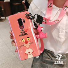 SAM Note 9 Cartoon Pink Leopard Case, Cute TPU soft back Cover For Samsung S7 Edge/S8/S8 plus/S9/S9 plus/Note 8 case +toy+Straps(China)