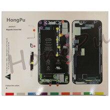 16 шт./лот Магнитный винтовой коврик для iPhone 11 XS MAX/XS/XR/X/8/8 Plus/7p/7/6sp/6s/6/6 Plus/5s направляющий коврик Мобильный телефон Инструменты для ремонта