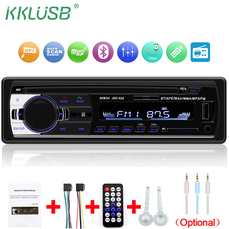 Bluetooth V2.0 Autoradio JSD-520 12V Auto Stereo Car Radio 1 Din FM Aux Input Receiver Car Audio SD USB MP3 MMC WMA