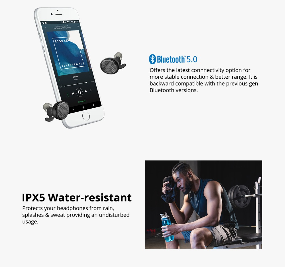 Tronsmart Spunky Buds Wireless Headphones Bluetooth 5.0 True Wireless Stereo Earbuds IPX5 Headphones with Mic for Phones 03
