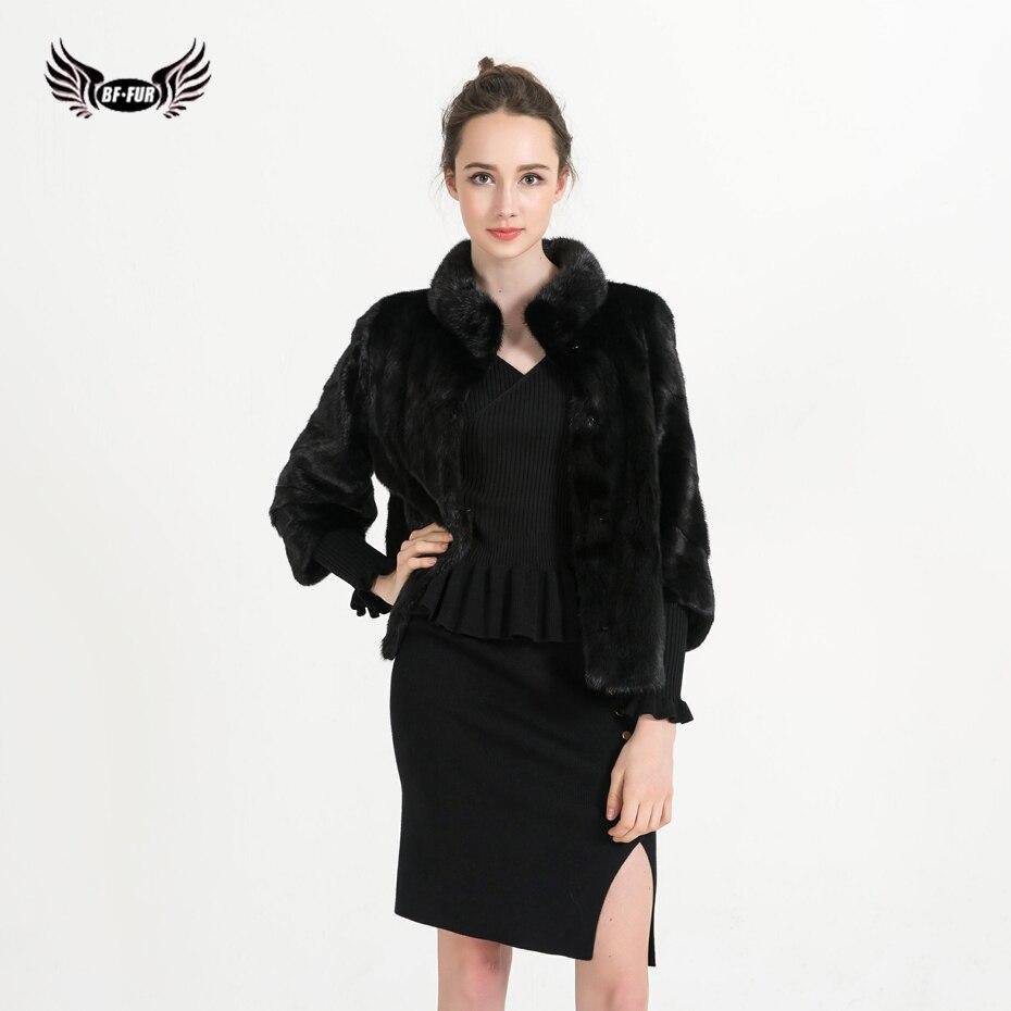 BFFUR Genuine Mink Fur Coat Real Fur Coat Women Natural Mink Fur Genuine Leather Jacket For Lady Fashion Silm Fur Coat BF-C0453