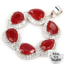 Guaranteed Real 925 Solid Sterling Silver 3.5g Ravishing Blood Ruby, CZ Womans Pendant 30x26mm
