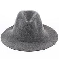 VORON 100% Saf Yün Düz Siyah Fedoras Şapkalar Kadın ve erkekler Geniş Geniş Düz Ağız Metal Dekorasyon Bağbozumu Kaşmir Caz Caps