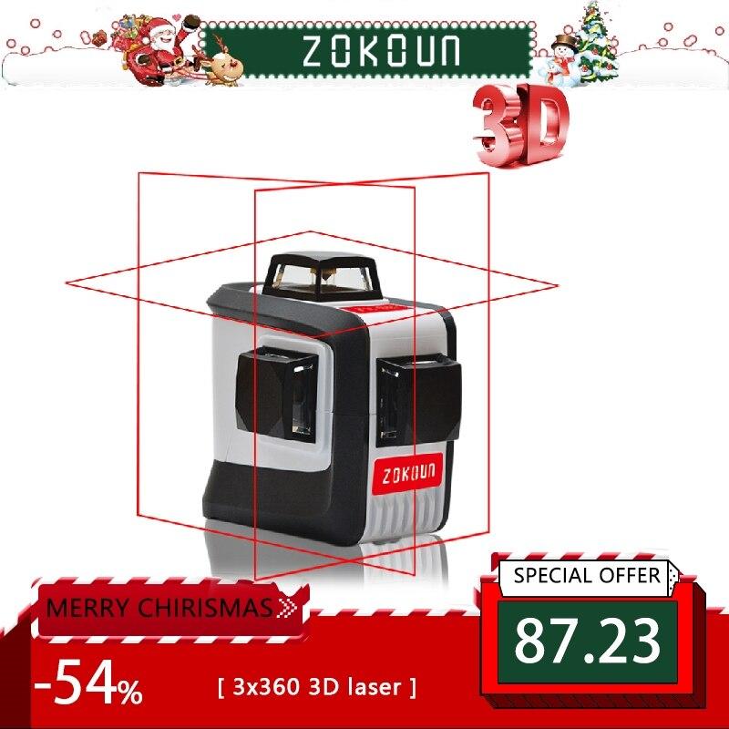ZOKOUn 12 líneas 3D 94 t-nivelación 360 Horizontal y Vertical súper poderoso rayo láser rojo de línea nivel láser