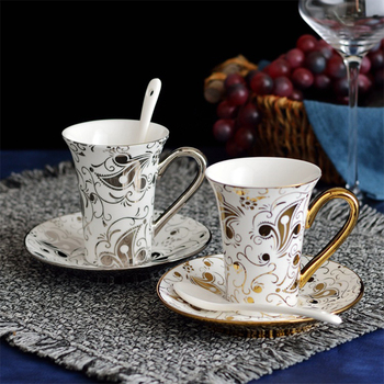 Coffee Cup Dish European and American Court Ceramic Coffee Cup Gold Plated Silver Premium Coffee Cup Dish Porcelain Spoon