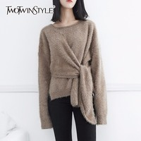 TWOTWINSTYLE Lace Up Sweater For Women With Velvet Tunic Irregular Long Sleeve O Neck Pullover Jumper