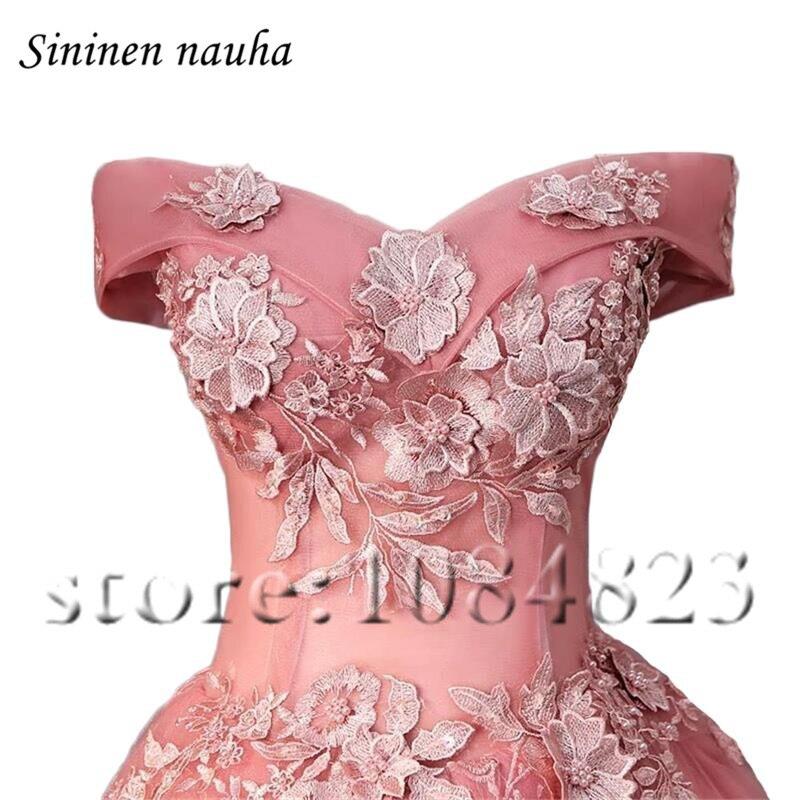 Robe De bal courte rose robes De soirée pour les femmes Juniors 2019 hors De l'épaule une ligne Appliques grande taille Vestidos De Festa 283 - 3