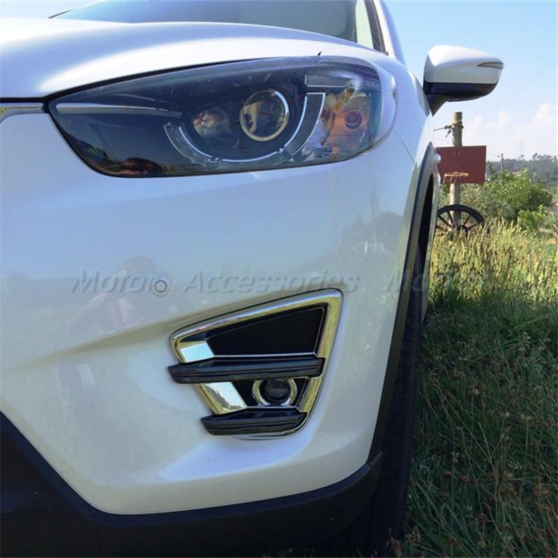 4pcs Chrome Front Fog Light/&Rear Bumper Lamp Cover Trim Fit For Mazda CX-5 CX5