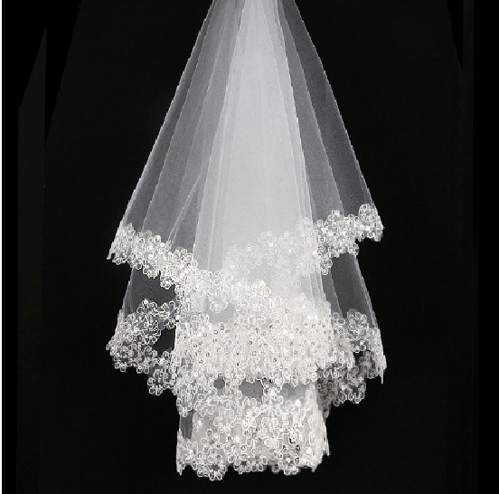 Lace Veil Wedding-Veils Short White Cheap Comb High-Quality Without