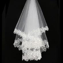 Свадебные аксессуары, короткая фата невесты без гребня, белая кружевная вуаль, высокое качество, дешевые свадебные вуали