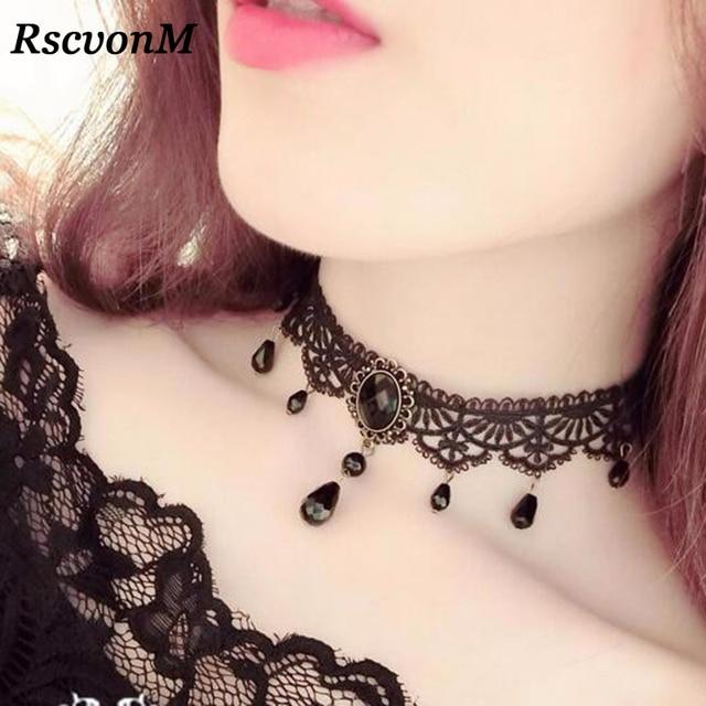 a3b3f8259c2 Fashion Black Velvet Choker Necklace for Women Statement Necklaces &  Pendants Bijoux Femme Collier Jewelry Collares Mujer C275