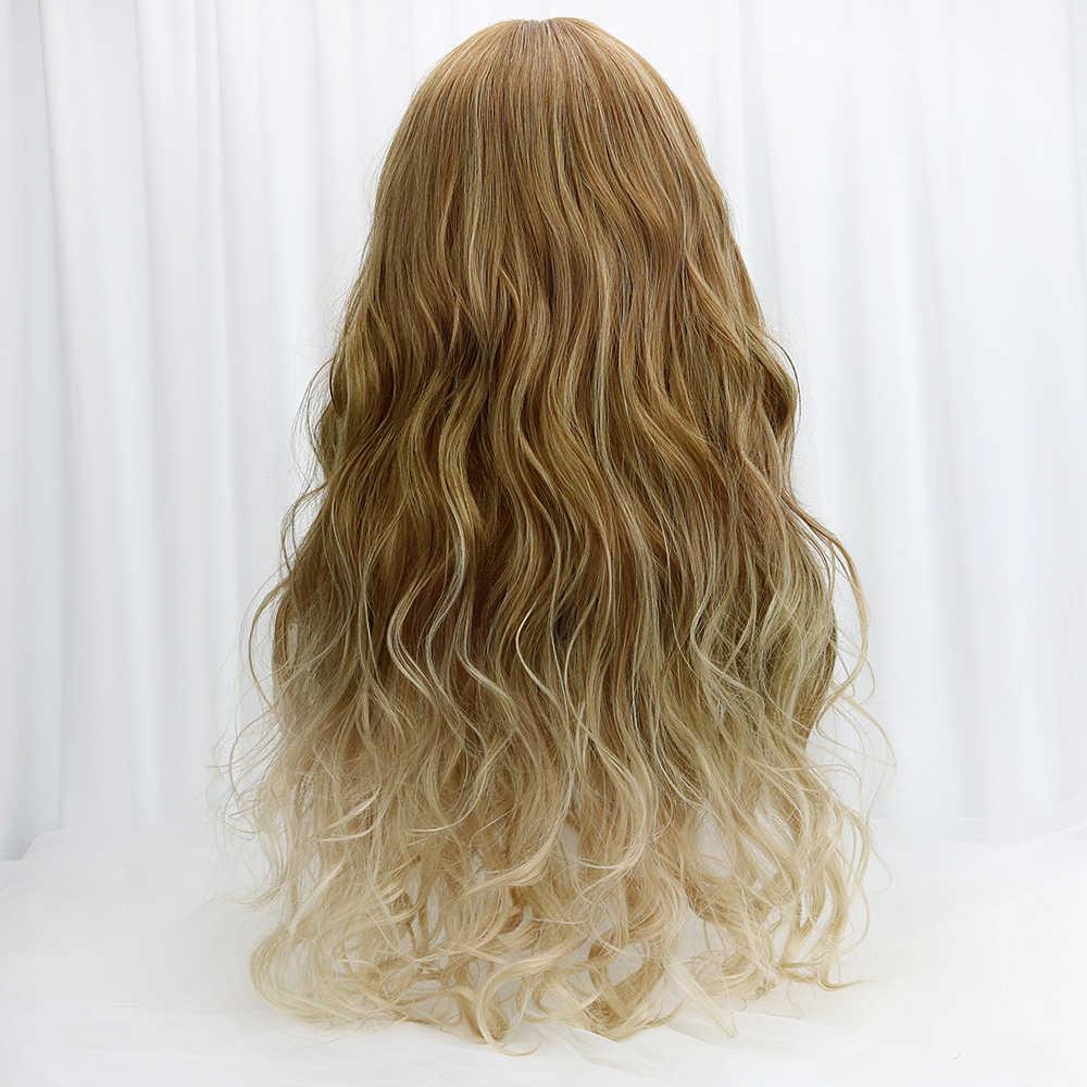 """29 """"sintético largo ondulado Cosplay Lolita pelucas con flequillo Rubio marrón Ombre disfraz fiesta Cosplay pelucas para mujeres calor resistente a"""