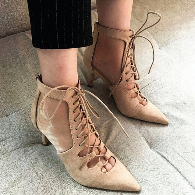 62e85cedd92a Fashion Lace Up Gladiator Sandals Women Sexy Pointed Toe High Heels Dress  Shoes Woman 2017 Summer New Short Boots Single Shoes