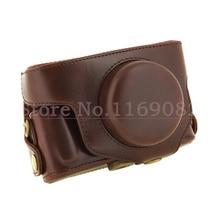 Coffee PU leather Camera case bag + Shoulder Strap for Pentax MX1 Digital camera detachable strap