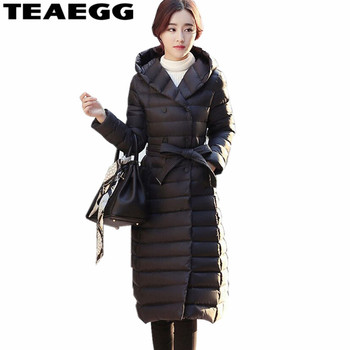TEAEGG Black Hooded Ultra Light Down Jacket Women Clothing 90% White Duck Down Womens Winter Jackets Parkas Doudoune Femme AL96