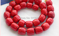 free shipping >HUGE 18 16MM column red coral bead NECKLACE