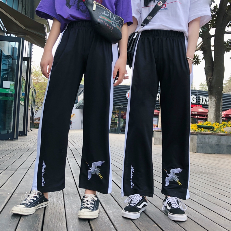 Casual Summer Korea INS Harajuku BF   Wide     Leg     Pants   Women 2018 New Retro Crane Cropped Loose   Wide     Leg     Pants