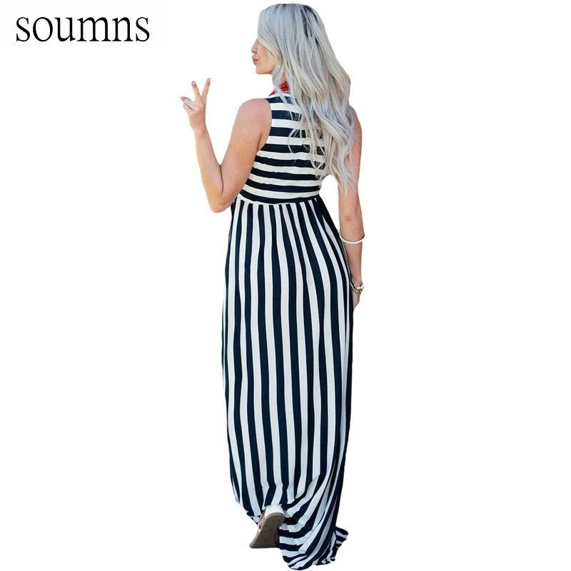 04cd66a193b974 Soumns Zomer Nieuwe Mode Casual Streep Print Jurken Strepen Mouwloze Maxi  Jurk Vestido De Festa Hot Koop SY61621-in Dresses from Women s Clothing on  ...