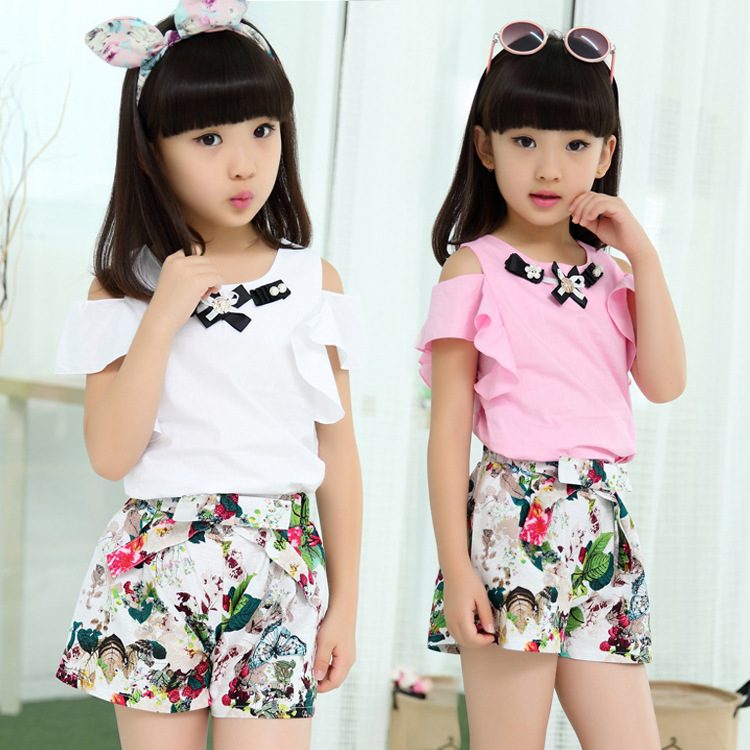 2017 New Girls Skirt Sets Kids Summer Clothing Suit Children Short Sleeved Leggings Linen Skirt + T Shirt Strapless Clothes