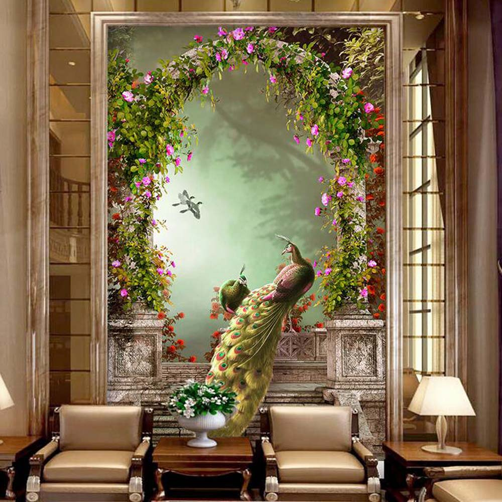 European 3D Peacock Entrance Photo Murals Wallpaper for Living Room TV Background Wall Art Decor Wall Paper Murals Custom Size custom photo wallpaper european town street view entrance background modern painting mural wall papers home decor living room