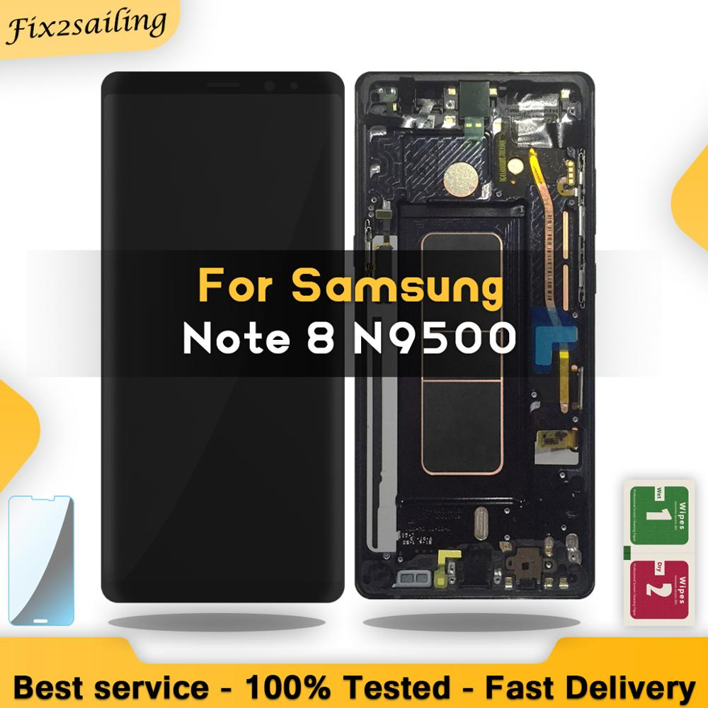 "New 6.3"" SUPER AMOLED Display For SAMSUNG Galaxy NOTE8 LCD N950 N950F Display Touch Screen Replacement Parts With Frame"