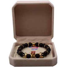 Imperial Crown Lava Stone Bead Bracelet King&Queen Luxury Charm Jewelry Xmas Gift for Women Men