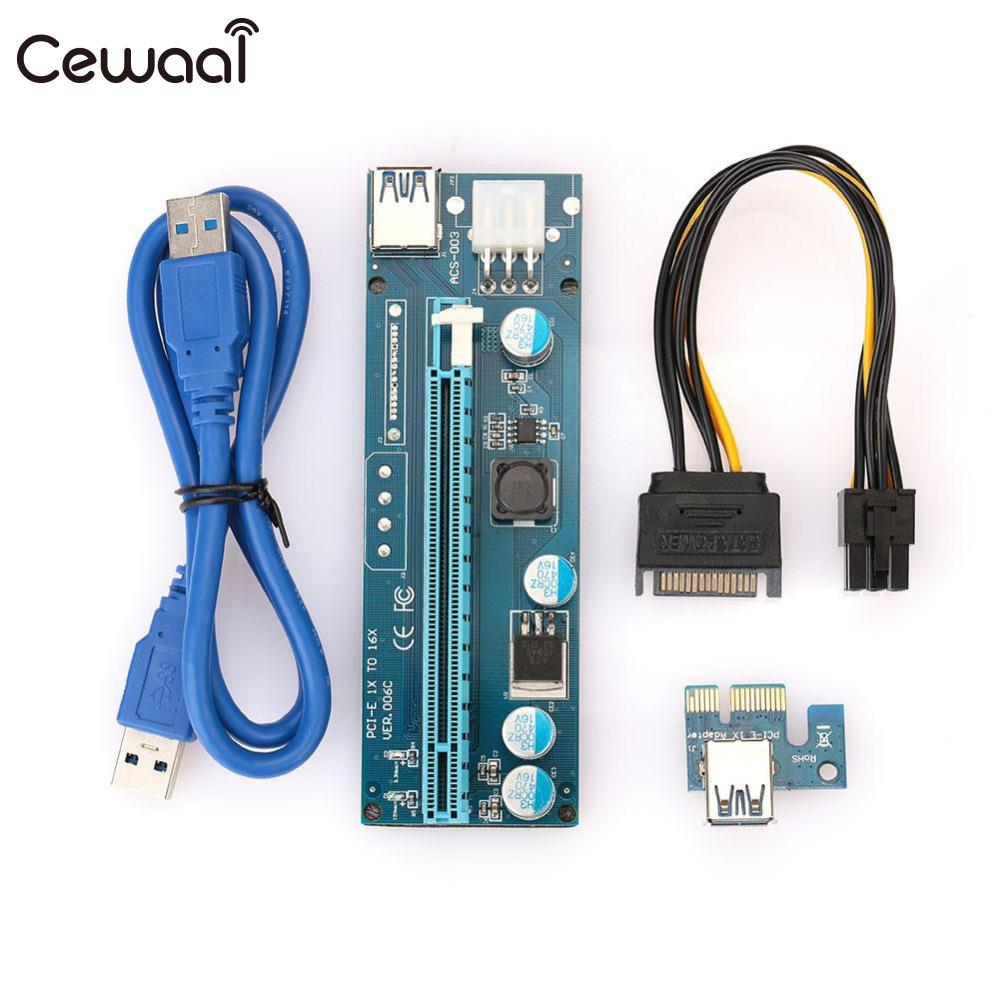 где купить  Cewaal Mining Riser Card 6th Generation USB3.0 Graphics Card LED Light ETH ETC Slot  дешево