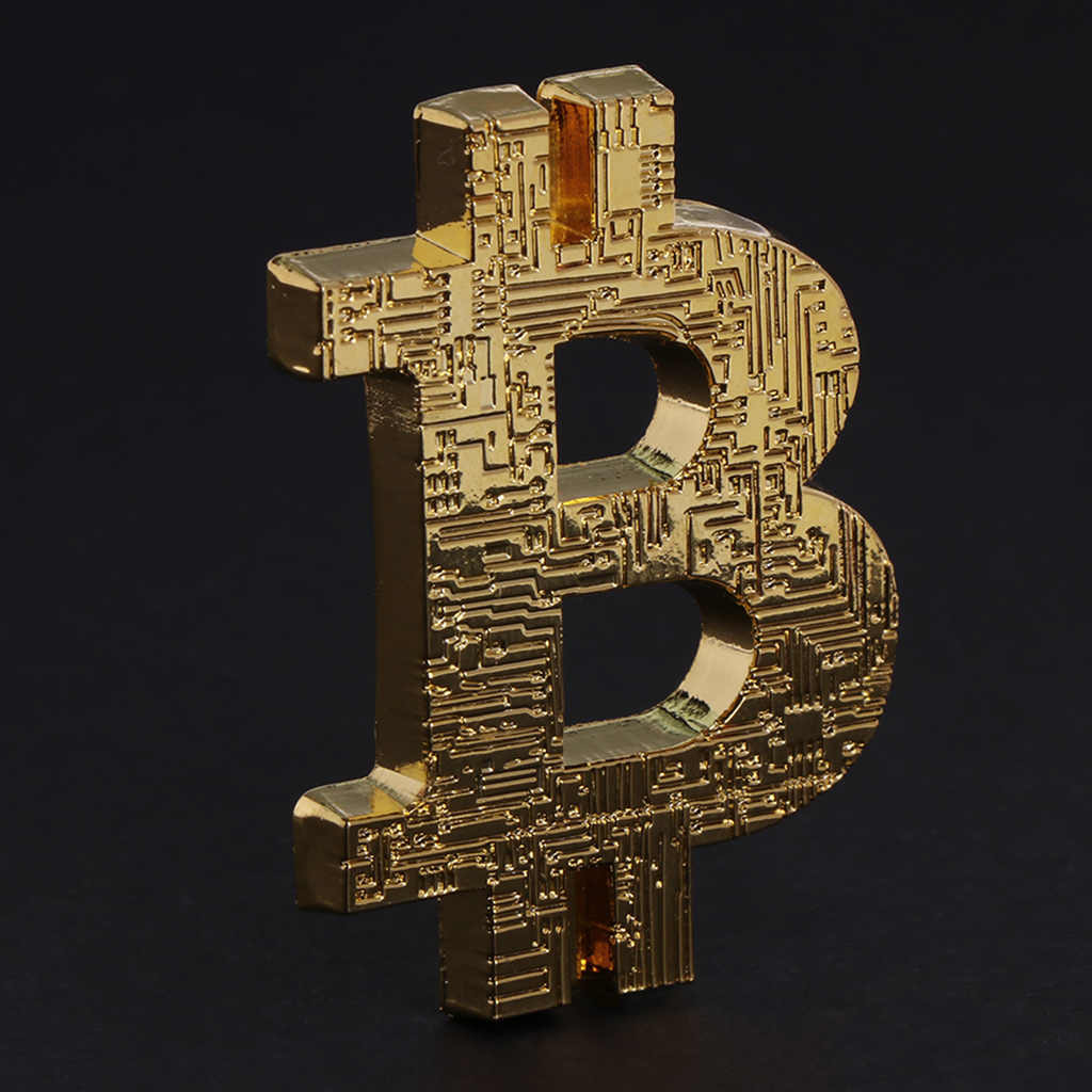 Elegant  Commemorative Coin 3D Shaped Bitcoin Hollow Collection Gift BTC Alloy