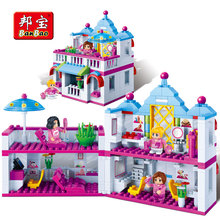 Купить с кэшбэком BanBao Beauty Hair Salon Blocks Bricks Educational Model Building Toy Children Girl Kids Friend Gift 6111 Compatible With Lego