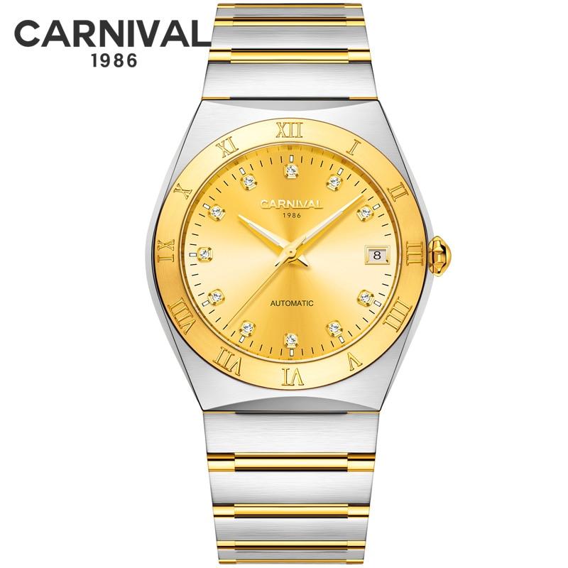 Switzerland CARNIVAL Luxury Watches Men Waterproof Gold Steel Automatic Mechanical Watch High quality movement Calendar Watch|Mechanical Watches| |  - title=