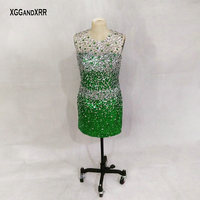 In Fashion Large Rhinestone Beading Crystal Cocktail Dresses 2018 New Sheer Neck Sexy Backless Short Prom Dresses Plus Size