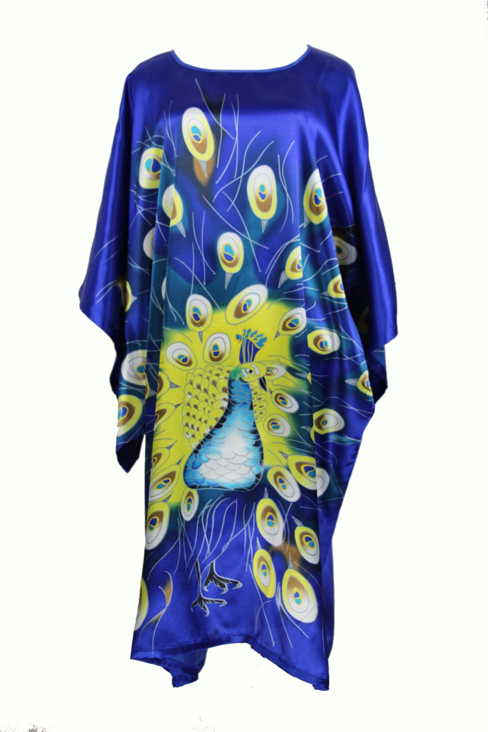 Summer New Blue Chinese Style Silk Rayon Robe Women's Sexy Home Dress Traditional Kaftan Bath Gown Pajamas One Size WN001