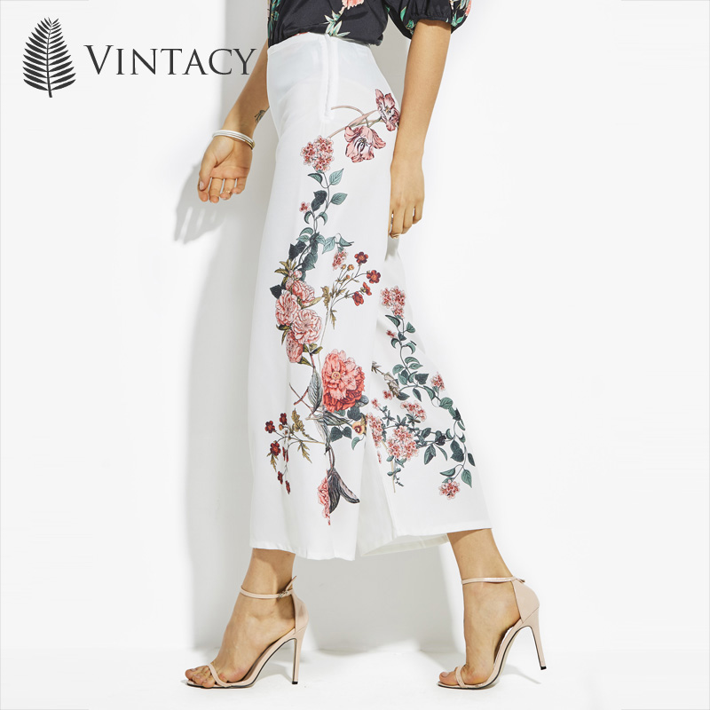 Vintacy Women   Wide     Leg     Pants   Casual White High Waist Loose Female Trouser Bottom Ankle Length Flower Plus Size OL Summer   Pant