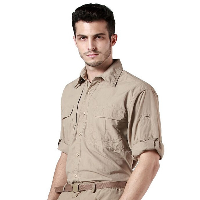 Men's Shirt Military Quick Dry Shirt Men Tactical Clothing Outdoor Camping Hiking Shirts Long Sleeve Removable Shirts