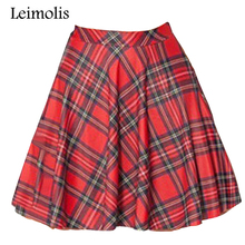 Leimolis 3d print red Scotland plaid summer above knee mini short harajuku casual sexy plus size