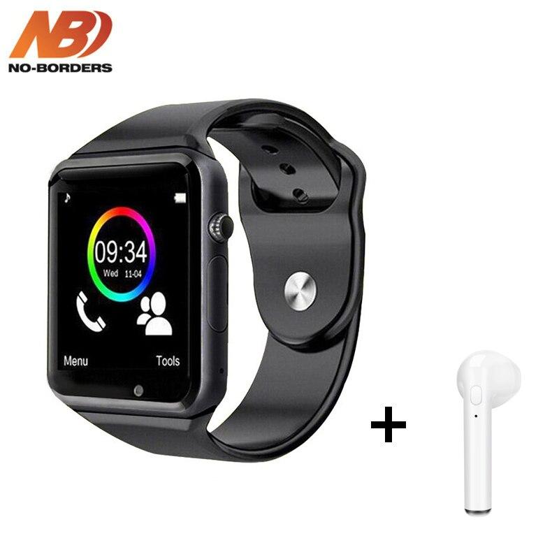 A1 relógio de Pulso Bluetooth Relógio Inteligente Pedômetro Esporte Com Câmera SIM Smartwatch com Caixa de Presente para o iPhone Android PK iwo 8 GT08 V8