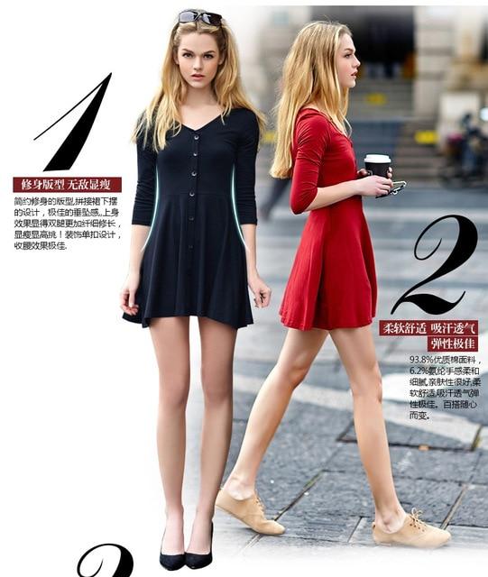 4ce3b325a7 Aliexpress Explosion Models 2015 Spring And Large Size Women Slim Slim  Seven V Collar Sleeve Cotton Dress Ebay