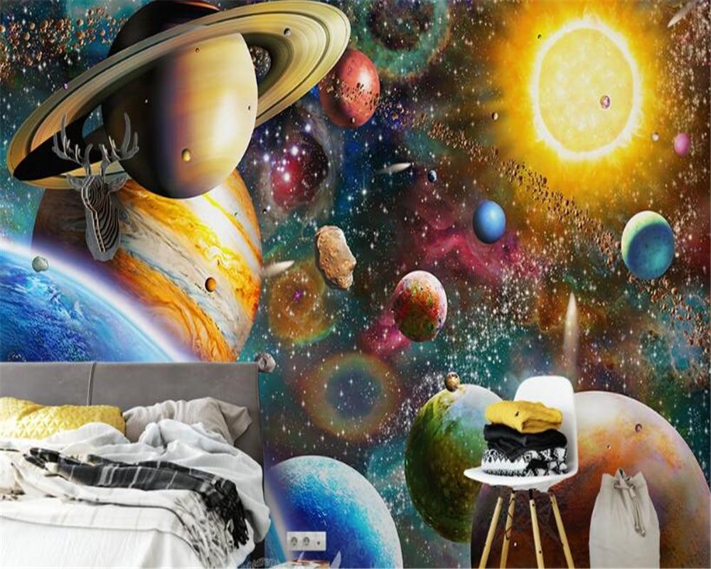 Beibehang 3D Wallpaper Space Universe Kids Room Bedroom