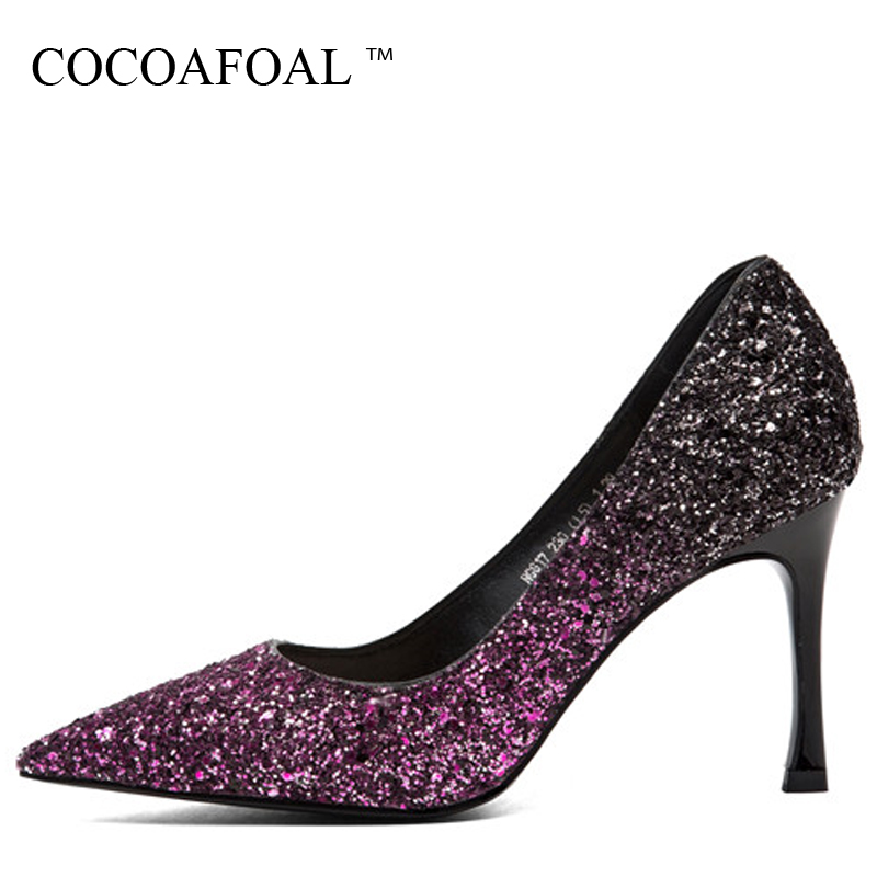 COCOAFOAL Woman Purple Wedding Pumps Bling Golden Green Sexy High Heels Shoes Spring Shallow Fashion Party Pointed Toe Pumps