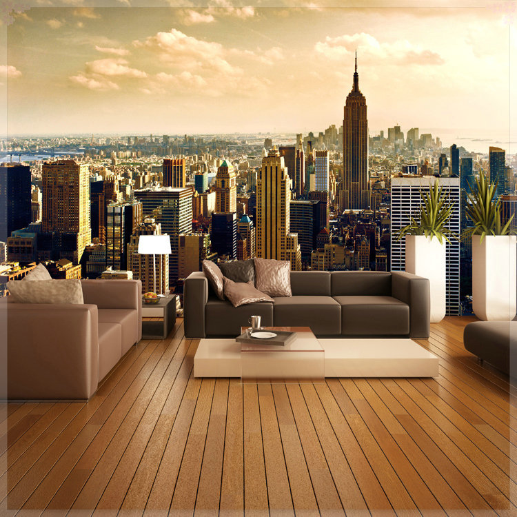 Large europe style city night wallpapers photo murals for City view wallpaper mural
