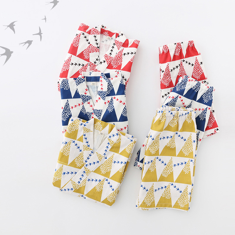 Boy Girl Kimono Sleepwear Japanese Style Short-Sleeved Kimono Pajamas  Printing Cotton Children Pyjamas Underwear Clothing Z960(China)