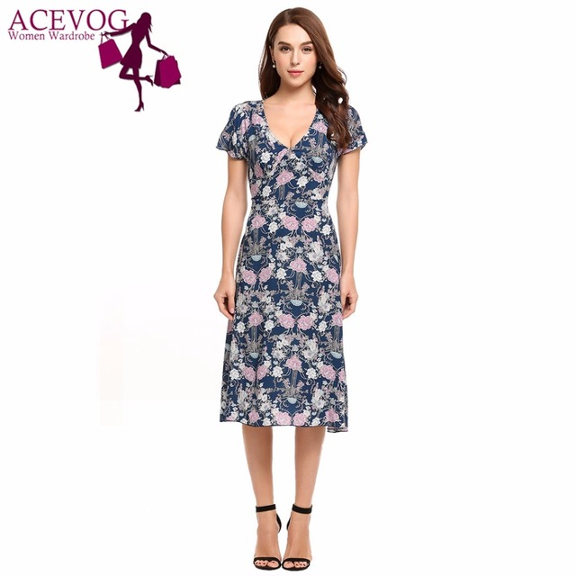 12bd49ce0a2d ACEVOG Women Vintage Dress Summer Floral Print Casual V-Neck Short Sleeve  Party Lady Dresses High Waist A-Line Feminino Vestidos